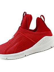 Girl's Athletic Shoes Spring Comfort Synthetic Casual Flat Heel Split Joint Black Red Dark Grey Walking