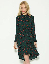 Women's Going out Beach Holiday Simple Cute Chinoiserie Chiffon Dress,Floral Shirt Collar Above Knee Long Sleeve Rayon Polyester Green