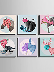 E-HOME Stretched Canvas Art Flowers And Animals Decoration Painting One Pcs