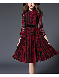 Feminino balanço Vestido, Para Noite Simples Sólido Colarinho Chinês Altura dos Joelhos Manga ¾ Vermelho Poliéster Primavera Outono