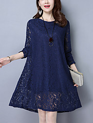 Women's Lace Plus Size Going out Street chic Fashion Loose Thin Lace Dress Solid Above Knee Blue /Black Nylon /Spandex Spring /Fall