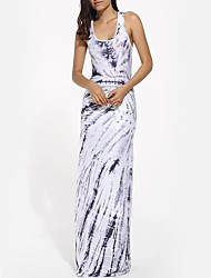 Women's Going out Beach Holiday Simple Boho Loose Sheath Swing Dress,Striped V Neck Maxi Sleeveless Polyester Blue Summer High Rise