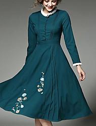 Feminino Evasê Vestido, Para Noite Festa/Coquetel Bandagem Sensual Vintage Temática Asiática Bordado Colarinho Chinês Altura dos Joelhos