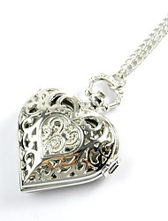 Lovers Gift Watch Retro Heart-Shaped Silver Watch Carved Hollow Creative Work Simple Watch