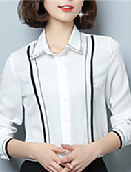 Fashion Spring Long Sleeves Lapel Upper Outer Garment Daily Leisure Stripe Wild Home Play Chiffon Blouse