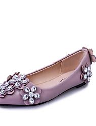 Women's Flats Comfort Slouch boots PU Spring Fall Casual Walking Comfort Slouch boots Rhinestone Flat Heel Black Gray Blushing Pink Flat