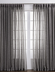 Two Panels Curtain Country , Solid Living Room Linen/Polyester Blend Material Sheer Curtains Shades Home Decoration For Window