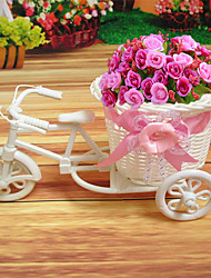 1Pcs  New Plastic White Tricycle Bike Design Flower Basket Container For Flower Plant Home Wedding Decoration