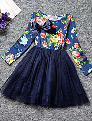 Girl's Floral Patchwork Dress,Polyester Spring Fall Long Sleeve