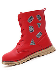 Girl's Boots Spring Winter Comfort PU Casual Flat Heel Lace-up Black Red White Walking