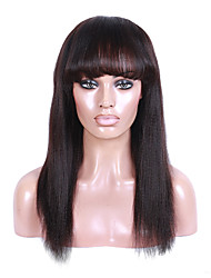 Yaki Straight Lace Front Human Hair Wigs with Bang 130% Density Peruvian Virgin Hair Glueless Lace Wigs Kinky Straight for Black Woman