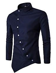 Hombre Simple Casual/Diario Camisa,Cuello Camisero Houndstooth Manga Larga Algodón Azul Rojo Blanco Negro
