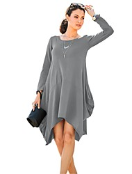 Women's Round Neck Solid Plus Size Loose Pocket Long Sleeve Asymmetrical Sheath Dress