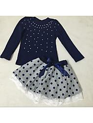 Girl Casual/Daily Formal Polka Dot Sets,Cotton Spandex Spring Fall Long Sleeve Clothing Set