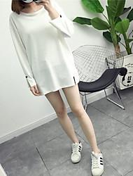 Tee-shirt Femme,Couleur Pleine Sortie Plage Vacances simple Mignon Printemps Manches Longues Col Arrondi Blanc Coton Polyester Fin
