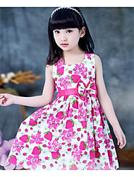 Girl's Casual/Daily Formal Solid Floral Print Dress,Rayon Summer Short Sleeve