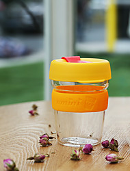 Transparent Sports Outdoor Drinkware, 340 ml Portable BPA Free Glass Silicone Tea Coffee Tumbler