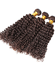 "3 Pcs Lot 12""-30"" Brazilian Kinky Curl Wefts Dark Brown Remy Human Hair Weave Tangle Free"