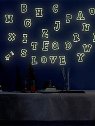 1Pcs Colorful English Alphabet Luminous Wall Stickers Fluorescence Children Room Dormitory Decoration