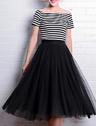 Women's Mid Rise Going out Work Party/Cocktail Midi Skirts,Simple Cute Street chic A Line Tulle Solid Spring Summer