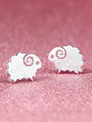 Серьги-гвоздики Симпатичные Стиль бижутерия Серебрянное покрытие В форме животных Овечья шерсть Бижутерия Назначение Для вечеринок