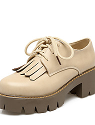 Women's Oxfords Spring Fall Other Leatherette Dress Casual Chunky Heel Lace-up Tassel Black Yellow Gray Beige Other