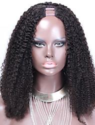 180% de la densité afro crépus bouclés u partie perruques mongolian 16inch cheveux humains 1,5 * 4inch perruques partie médiane upart