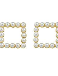 Peal Square Drog  Earrings