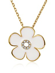 Women's Pendant Necklaces AAA Cubic Zirconia Zircon Silver Plated Gold Plated Rose Gold Plated Alloy FlowerUnique Design Flower Style