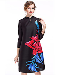 Damen Tunika Kleid-Ausgehen Anspruchsvoll Blumen Ständer Übers Knie ¾-Arm Blau Rot Schwarz Polyester Frühling Sommer Mittlere Hüfthöhe