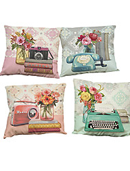 Set of 4 Retro camera pattern Linen Pillowcase Sofa Home Decor Cushion Cover