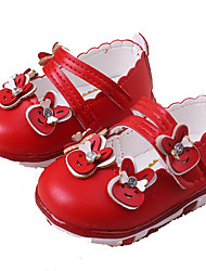 Girl's Flats Spring Summer Fall Winter Flower Girl Shoes Light Soles PU Casual Flat Heel Pink Red White