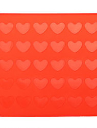 30-Slot Heart Shaped Silicone Cake Biscuit Baking Mold Tray Mold Bakeware (Red)
