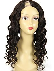 22inch u vague lâche partie perruque 1 partie * 4inch droite upart cheveux humains perruques couleur naturelle 130% de la densité des