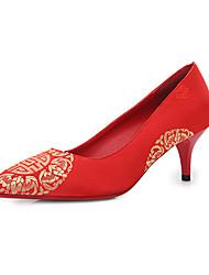 Mujer-Tacón Bajo-Zapatos del club-Tacones-Boda-Semicuero-Rojo