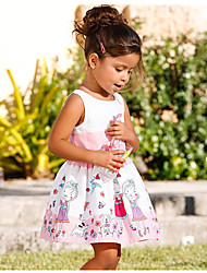 Girl's Print Dress,Cotton Polyester Summer Sleeveless