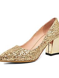 Золотой Серебряный Красный-Для женщин-Свадьба Повседневный Для вечеринки / ужина-Лак-На толстом каблуке Блочная пяткаОбувь на каблуках