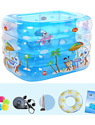 Children's Home Use Paddling Pool Large Size Inflatable Square Swimming Pool Heat Preservation Kids Paddling Pool Four Layer 140X110X70 CM