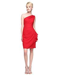 2017 Lanting Bride® Knee-length Chiffon Elegant Bridesmaid Dress - Sheath / Column One Shoulder with Pleats