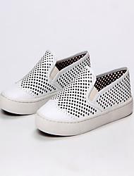 Women's Sneakers Spring Summer Comfort Cowhide Outdoor Office & Career Dress Casual Flat Heel Others White Walking