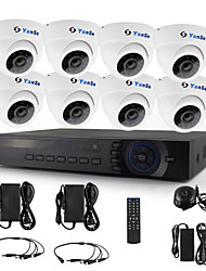 YanSe® 8pcs Dome Camera AHD DVR Kit 720P IR CCTV Camera Color Security Video Cameras System 1200TVL 3.6mm 632W 1.0Megapixel