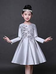 A-line Knee-length Flower Girl Dress - Stretch Satin Long Sleeve Jewel with Appliques Flower(s)