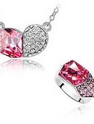 Schmuck 1 Halskette 1 Paar Ohrringe Kristall Party Aleación 1 Set Damen Rot Blau Hochzeitsgeschenke