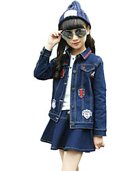 Girl Casual/Daily School Solid Print Sets,Cotton Spring Fall Long Sleeve Clothing Set