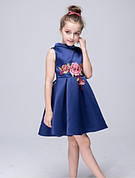 A-line Knee-length Flower Girl Dress - Nylon Taffeta High Neck with Embroidery