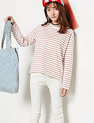 Model real shot spot bamboo cotton loose Korean version of the simple round neck striped short-sleeved T-shirt women