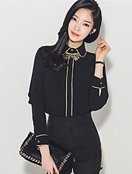 принять Waichuan рубашки женщин корейской тонкий шить внутри черные рубашки куртки отворот рубашки элегантности