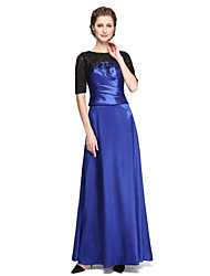 LAN TING BRIDE A-line Mother of the Bride Dress - Elegant Ankle-length Half Sleeve Lace Satin with Appliques Pleats