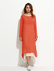 Women's Vintage / Casual / Day Solid / Patchwork / Split Loose Thin Dress , Asymmetrical False Two Cotton / Linen