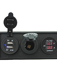 12V/24V Power charger3.1A USB port and current ampmeter gauge with housing holder panel for car boat truck RV(With current voltmeter)